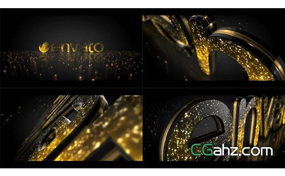 金色光点装饰的优雅电影标志演绎AE