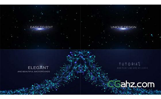 闪烁星光和唯美蓝色粒子礼花中的文字标题AE模板