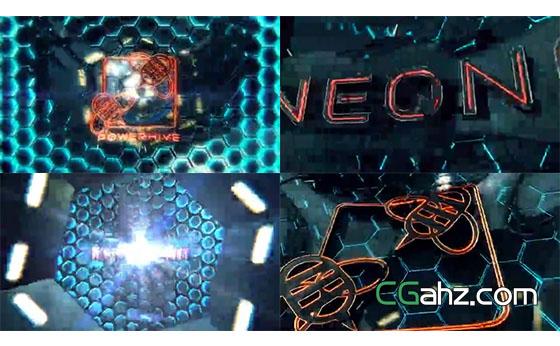 穿过震撼的隧道,出现了能量霓虹标志AE模板