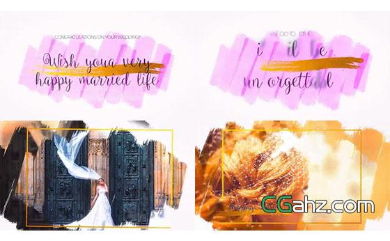 笔刷涂抹出温馨优雅的婚礼邀请函AE模板