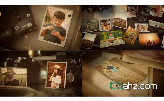 用老相机用心珍藏的美好回忆相册AE模板