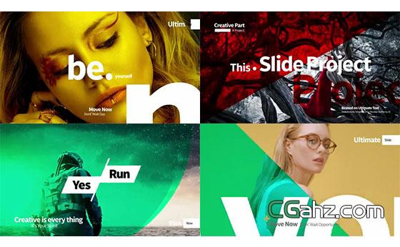 文字、色彩和图像时尚又完美的排版展示集AE模板
