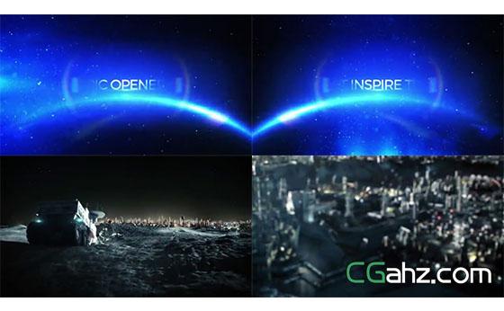 蓝色光点星空中炫美的电影标题预告AE模板