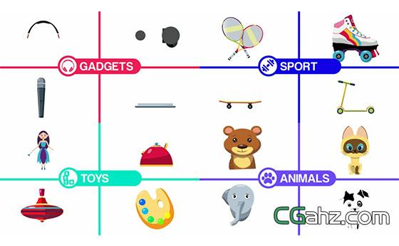 孩子们喜欢的卡通动画元素大全AE模板