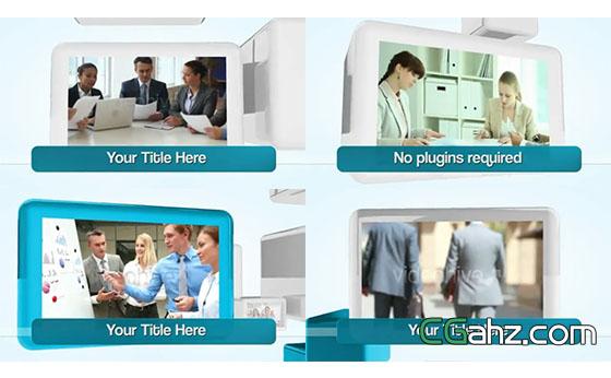 三维空间方块中的企业内容展示AE模板