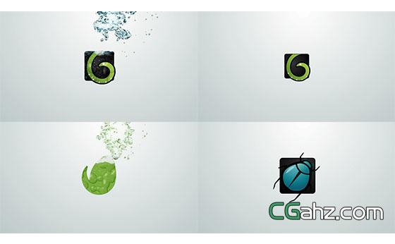 水组成Logo动画片头展示AE模板