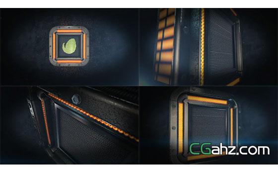 钢铁质感方块机械Logo展示AE模板