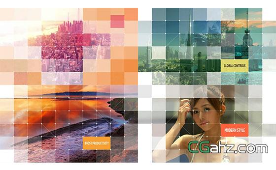 点阵网格分割幻灯片展示AE模板