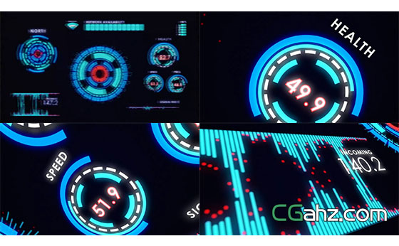 科幻高科技HUD显示AE模板