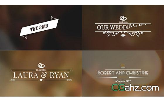 西方古典浪漫婚礼文字标题展示AE模