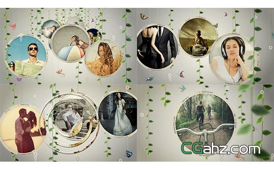 清新树叶挂件回忆照片展示AE模板