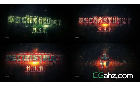 史诗游戏火焰粒子文字拼贴展示AE模板