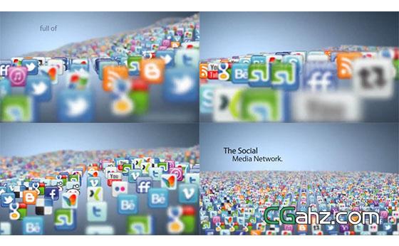 社交图标海浪开场汇聚Logo展示AE模板