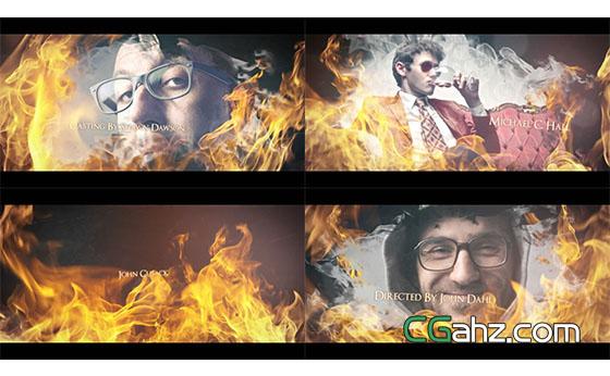 史诗震撼火焰游戏照片视频开场展示AE模板
