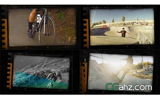 胶片漏光极限运动视频展示开场AE模板