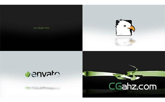 干净三维丝带动画揭示出logo标志的AE模板