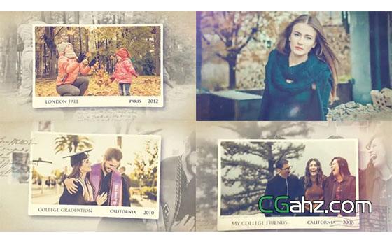 怀旧温馨又令人感动的回忆相片展AE模板