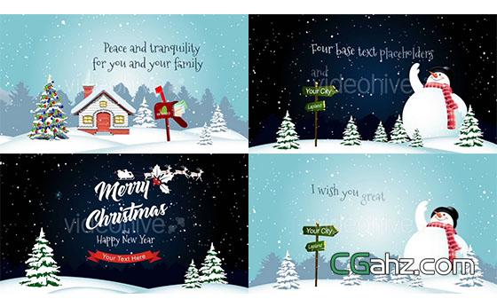 卡通圣诞节下雪场景片头动画展示AE模板