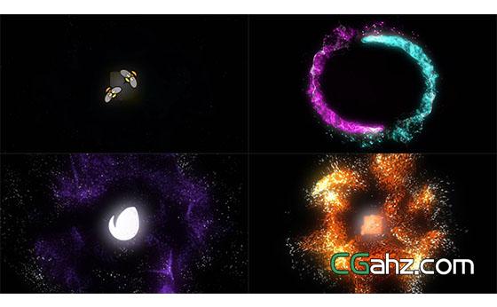 旋转粒子汇聚爆炸Logo动画展示AE模板