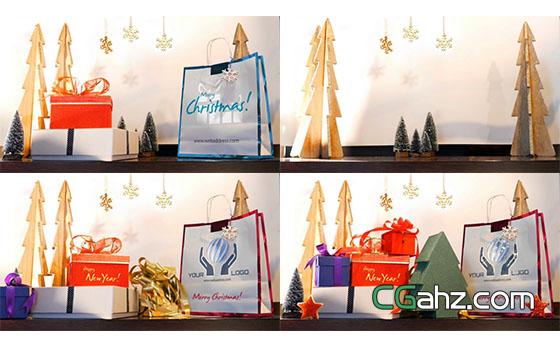 圣诞节礼盒定格动画片头展示AE模板