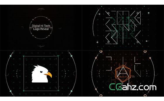 科技感线条Logo动画展示AE模板