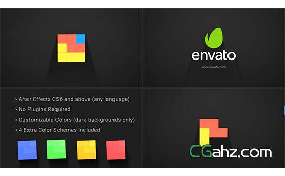 图形拼贴魔方Logo动画展示AE模板