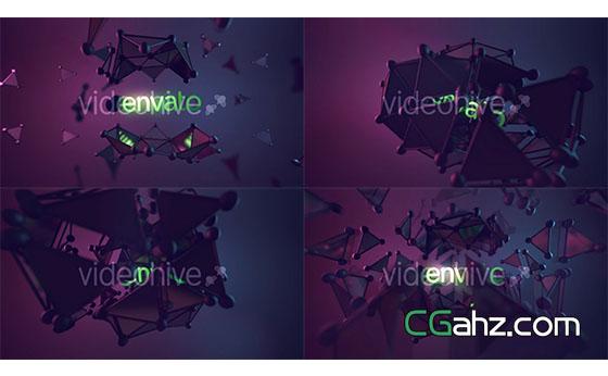 三维点线模型动画片头展示AE模板