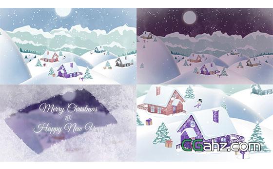 圣诞节雪地村庄片头动画展示AE模板