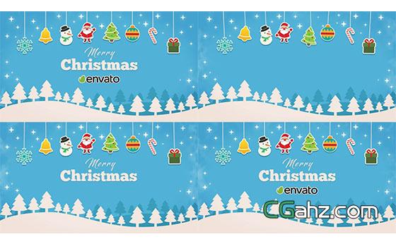 卡通扁平化圣诞节片头展示AE模板