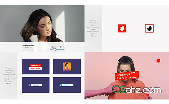 网络视频文字标题字幕宣传包装展示AE模板