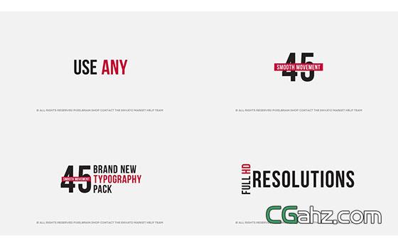 简洁的文字标题排版动画展示AE模板