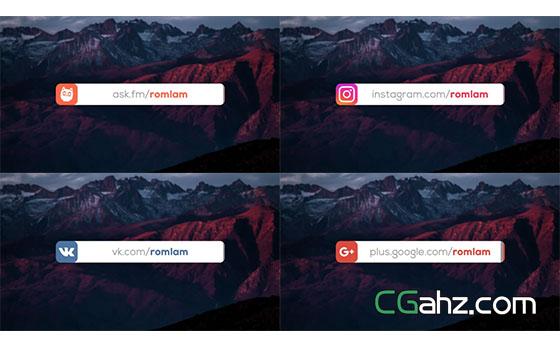 扁平化社交人名字幕条动画展示AE模板