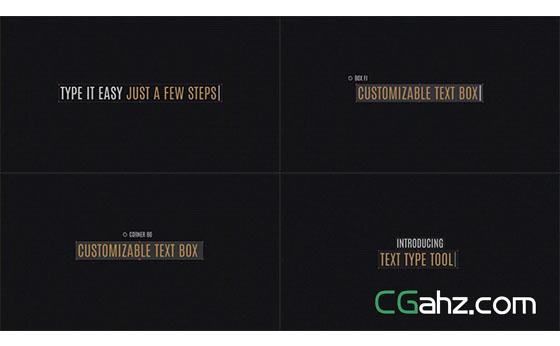 电脑文字选框输入动画展示AE模板