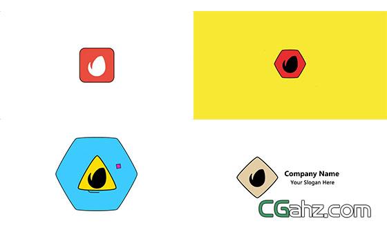 扁平化MG动画Logo展示AE模板