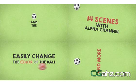 卡通足球宣传动画开场展示AE模板