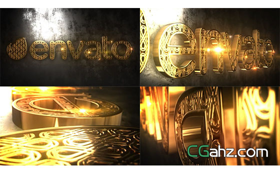 E3D金色三维Logo文字动画AE模板