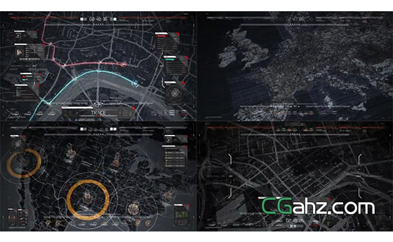 全息科技地图特效演示动画AE模板