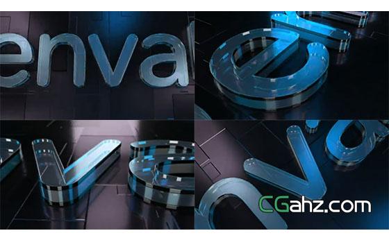 玻璃质感非常真实的3D标志演绎开场AE模板