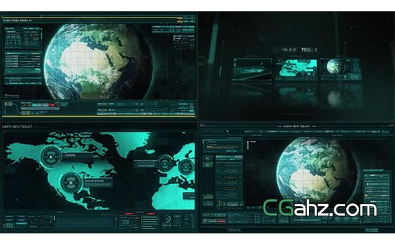 在地图上进行未来科技感的信息内容演示AE模板