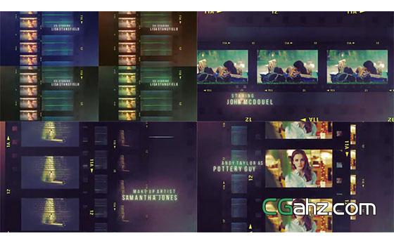 胶片排版组合展示的电影预告片AE模板