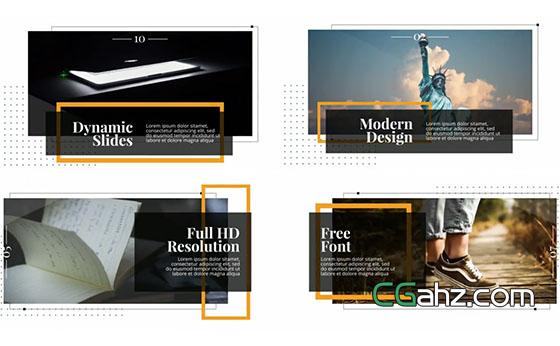 线框框架主题的现代简约风内容演示AE模板