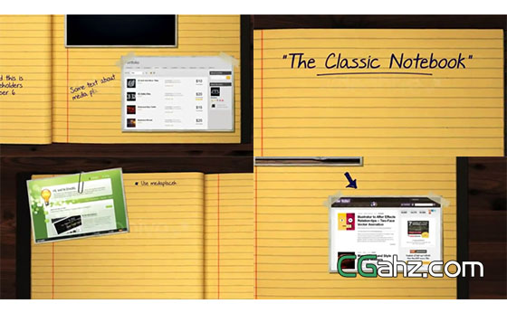 书桌上的经典笔记本手写内容展示AE模板