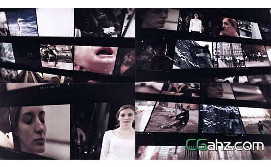胶卷视频照片墙展示AE模板