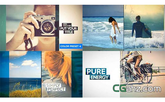 时尚画面分割企业幻灯片简洁照片展示AE模板