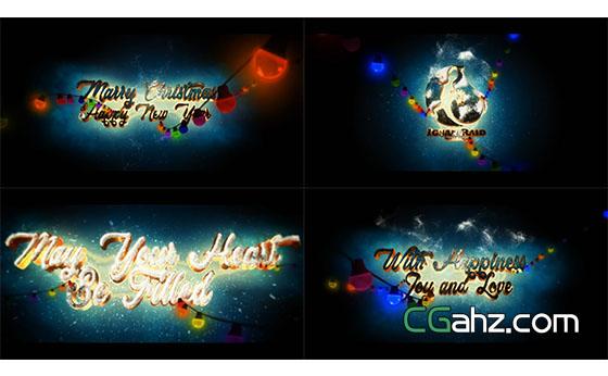 三维圣诞节文字动画片头展示AE模板