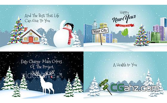 卡通圣诞节片头动画展示AE模板