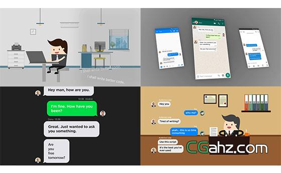 短信对话框气泡生成动画展示AE模板
