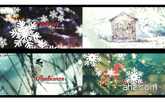 唯美的冬天雪花圣诞节图片开场展示AE模板