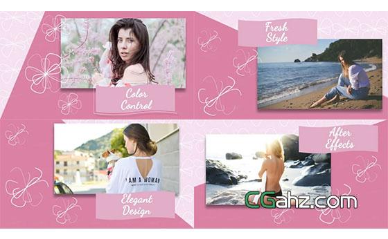 女性主题的粉色图文展示AE模板