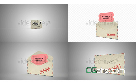 打开信封读取内容的简单动画AE模板